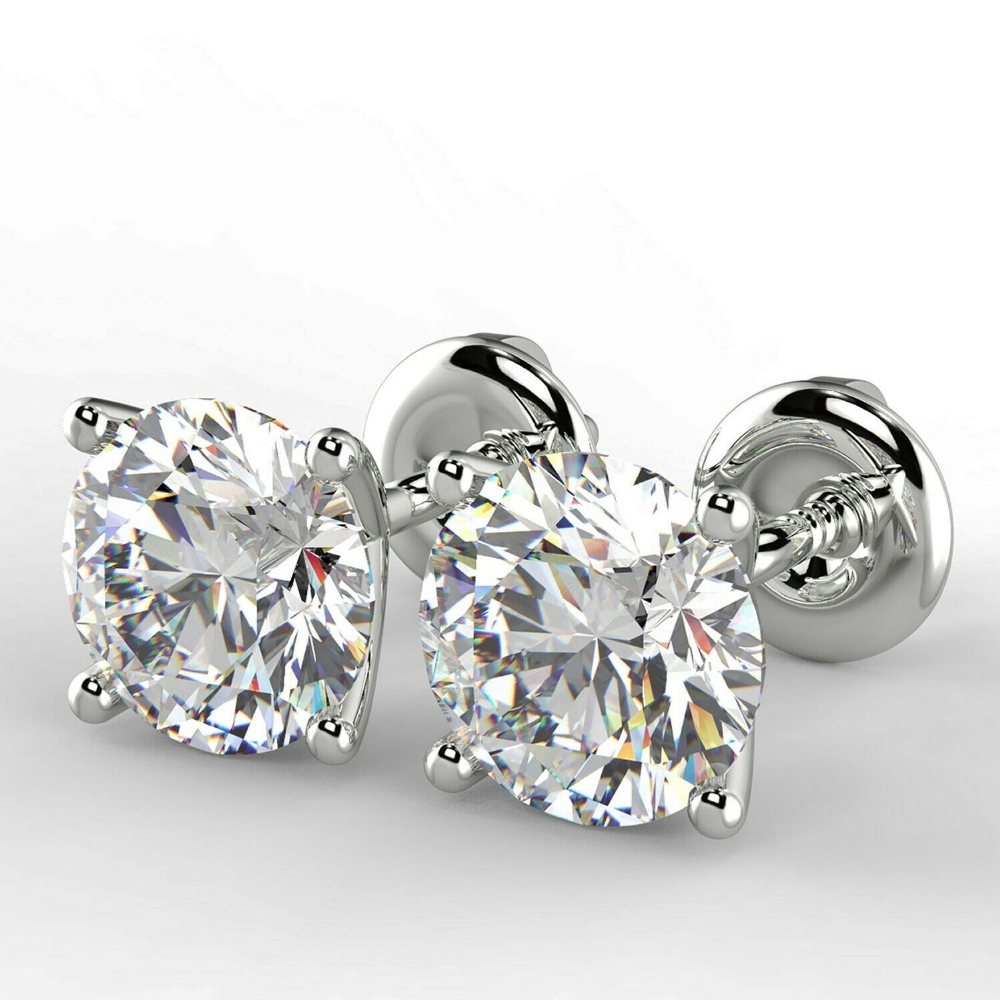 Lot 1 - One Carat Round Cut VS2/F Diamond Stud Earrings 14K White Gold