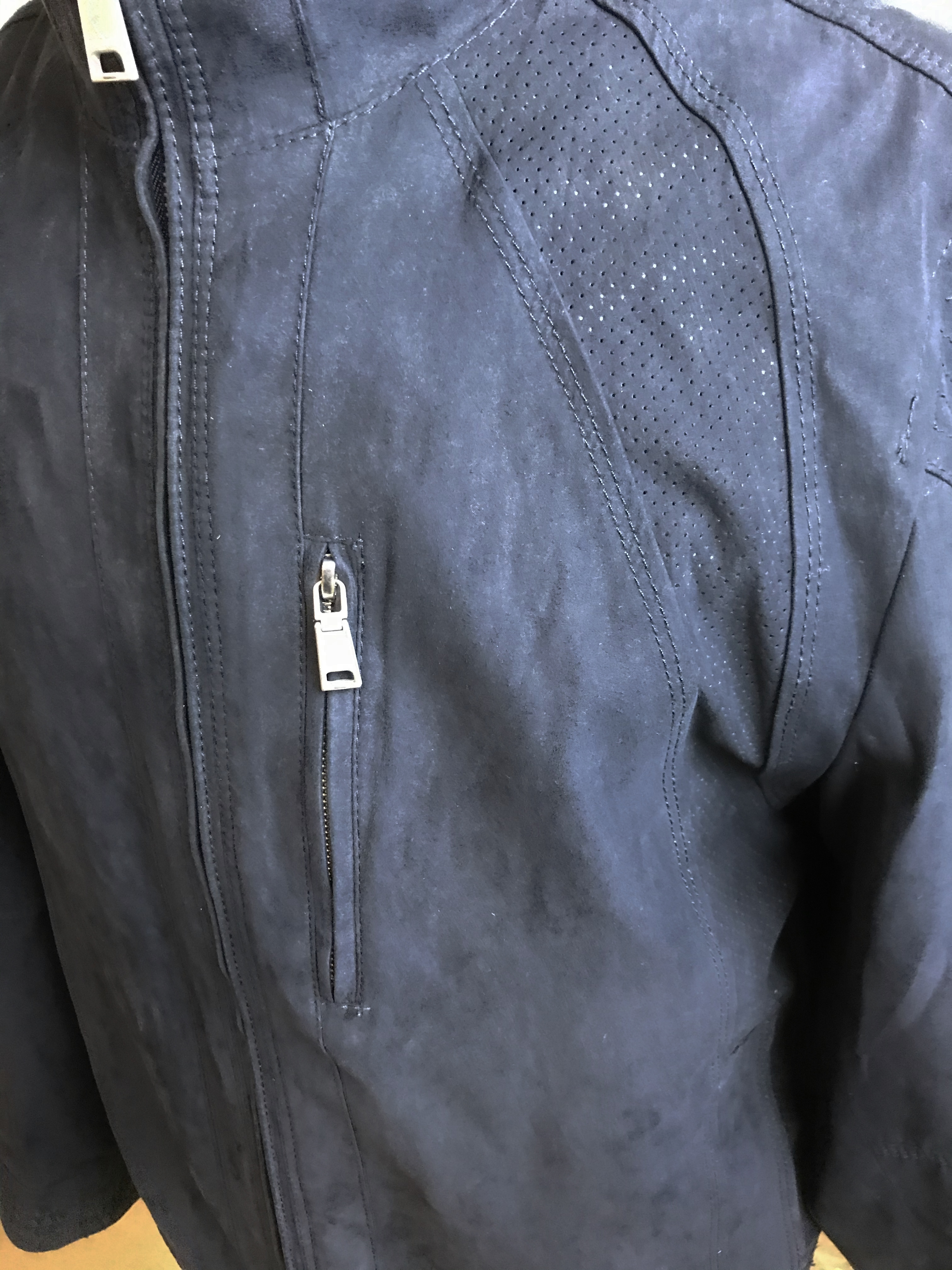 Lot 10 - Bugatti Official Merchandise Navy Sports Suede Jacket-Given To New Owners Only