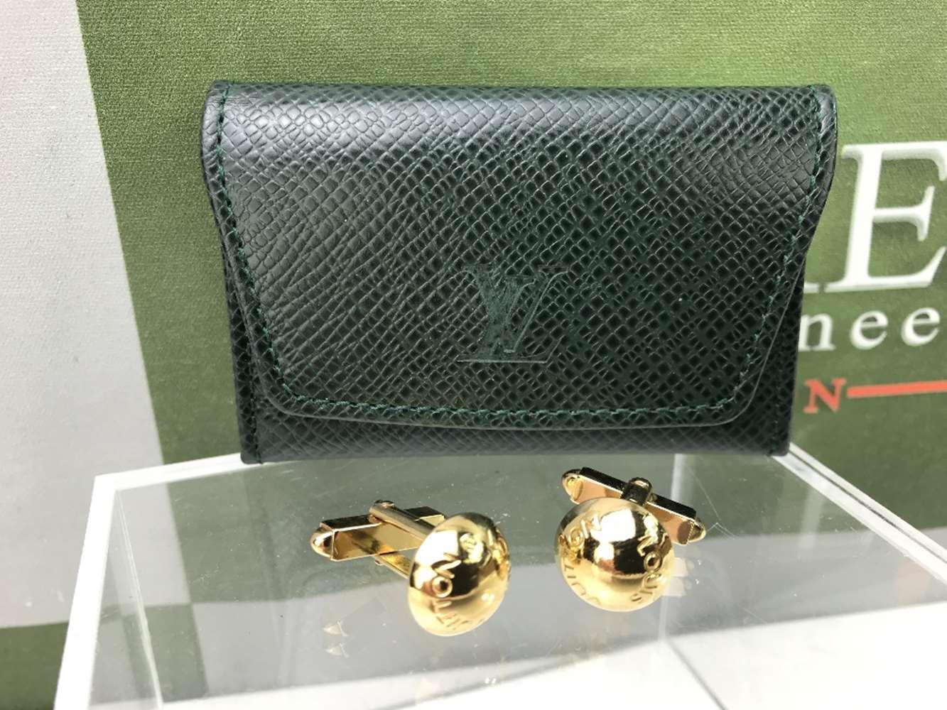 Lot 12 - Louis Vuitton Gold Plated Cufflinks In Original Case