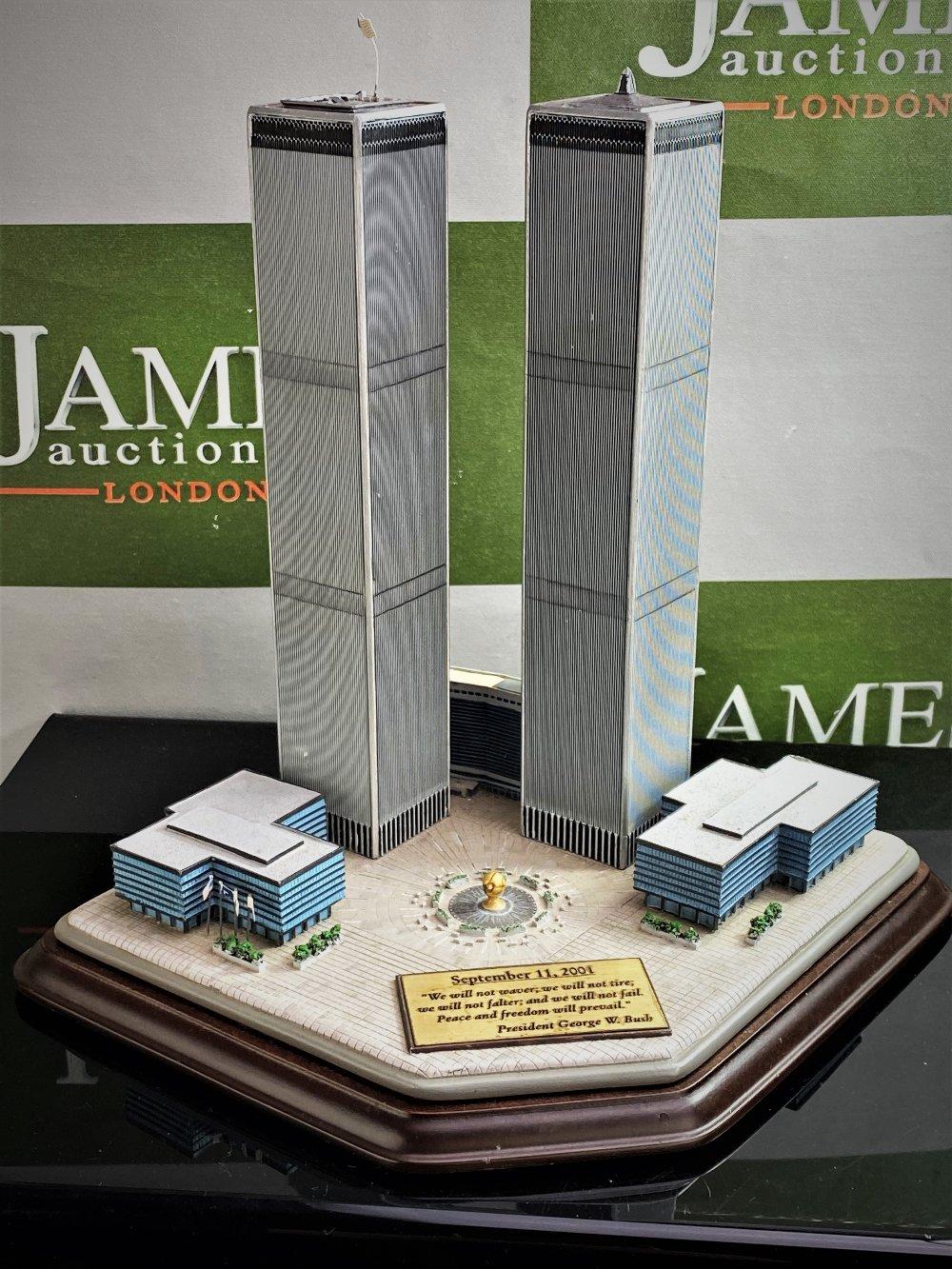 Lot 2 - Danbury Mint September 11, 2001 9/11: Twin Towers Historic Desk Top Diarama