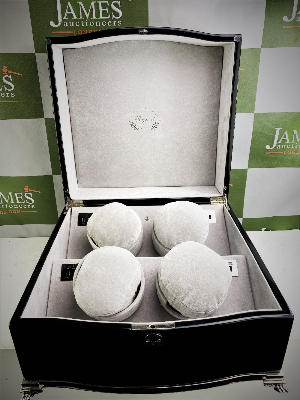 Lot 19 - Rapport Of London Automatic Quad Watch Winder - Silver & Piano Key Gloss Black