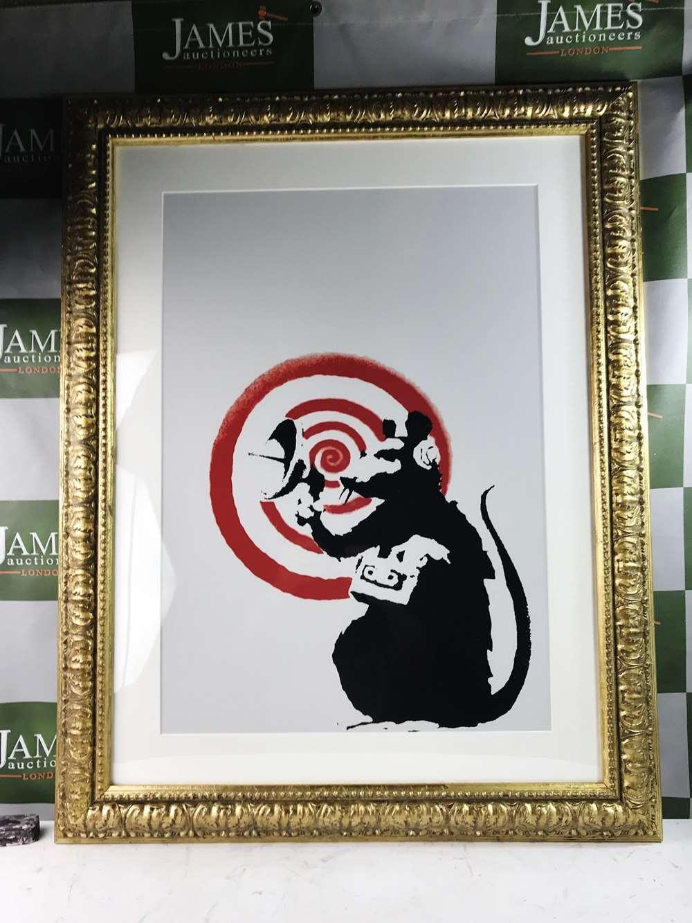 "Lot 41 - Banksy ""Radar Rat"" Lithograph, Ornate Framed"