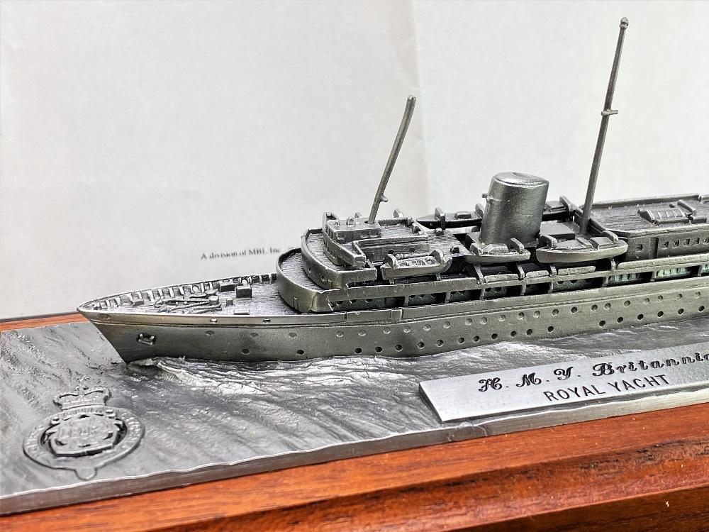 Lot 4 - Danbury Mint Her Majesty's Britannia Yacht-Pewter On Wooden Display Plinth