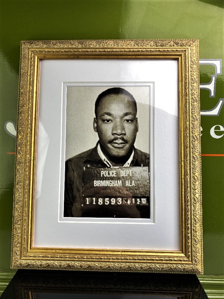 Lot 22 - Martin Luther King-Mugshot-Double Mount-Ornate Framed