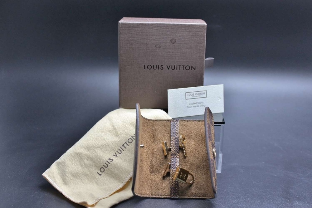 Lot 11 - Louis Vuitton Cufflinks 925 Silver Gold Plated with Brown Damier Pouch.