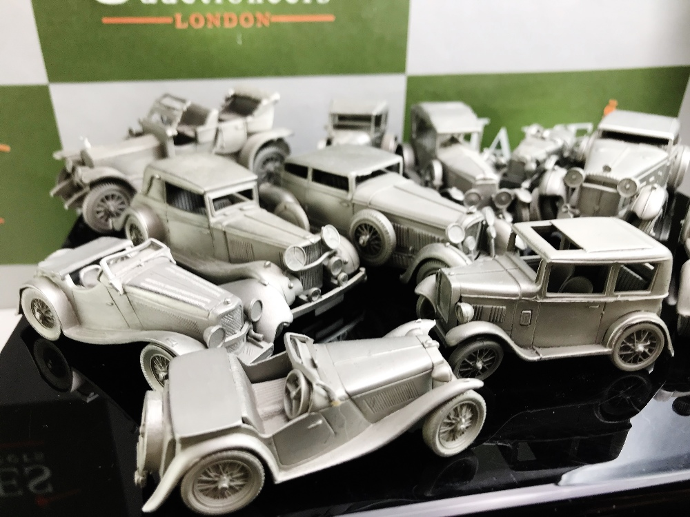 Lot 33 - Danbury Mint Pewter Cast Collection Of Historical Classic cars