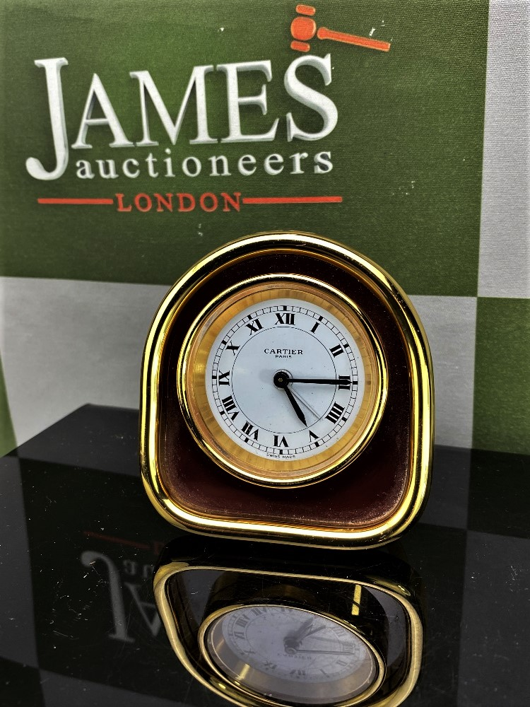 Lot 13 - Cartier Clock Desk Alarm Clock Cartier Paris