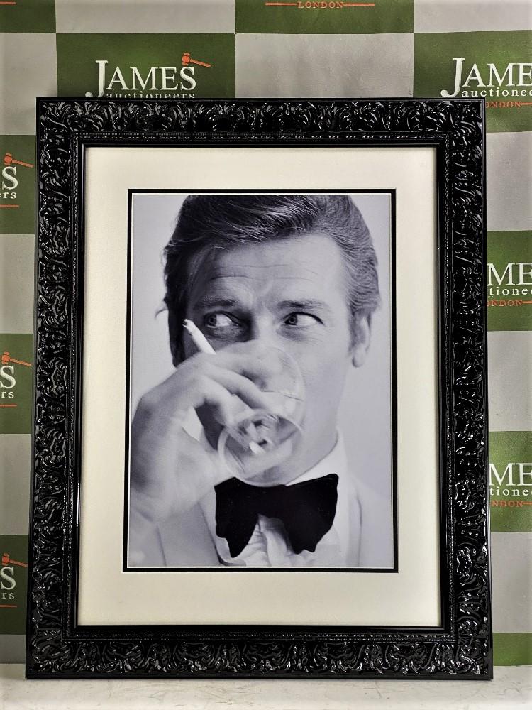 """Lot 21 - James Bond 007 Roger Moore-""""Shaken Not Stirred"""" Double Mount Ornate Framed"""