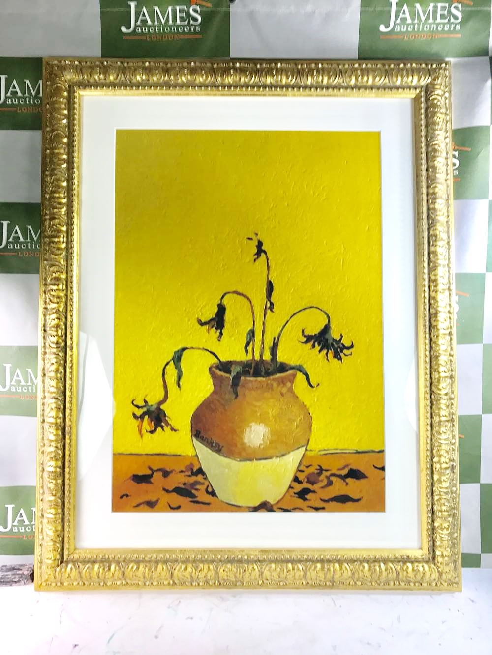 """Lot 20 - Banksy """"Flowers From A Petrol Station"""" Lithograph, Ornate Framed"""