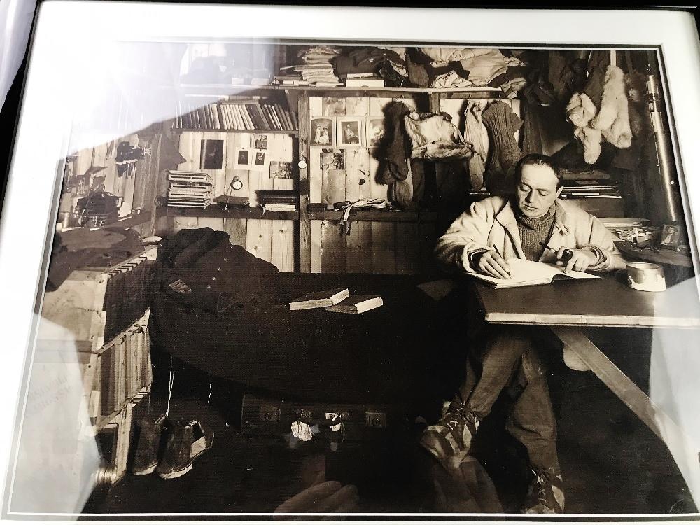 Lot 18 - Captain Scott Antartic Cabin Silk Canvas Print Framed
