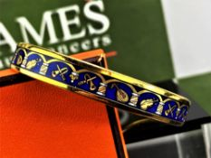 Hermes Gold Plated & Blue Enamel Musical Instruments Bracelet