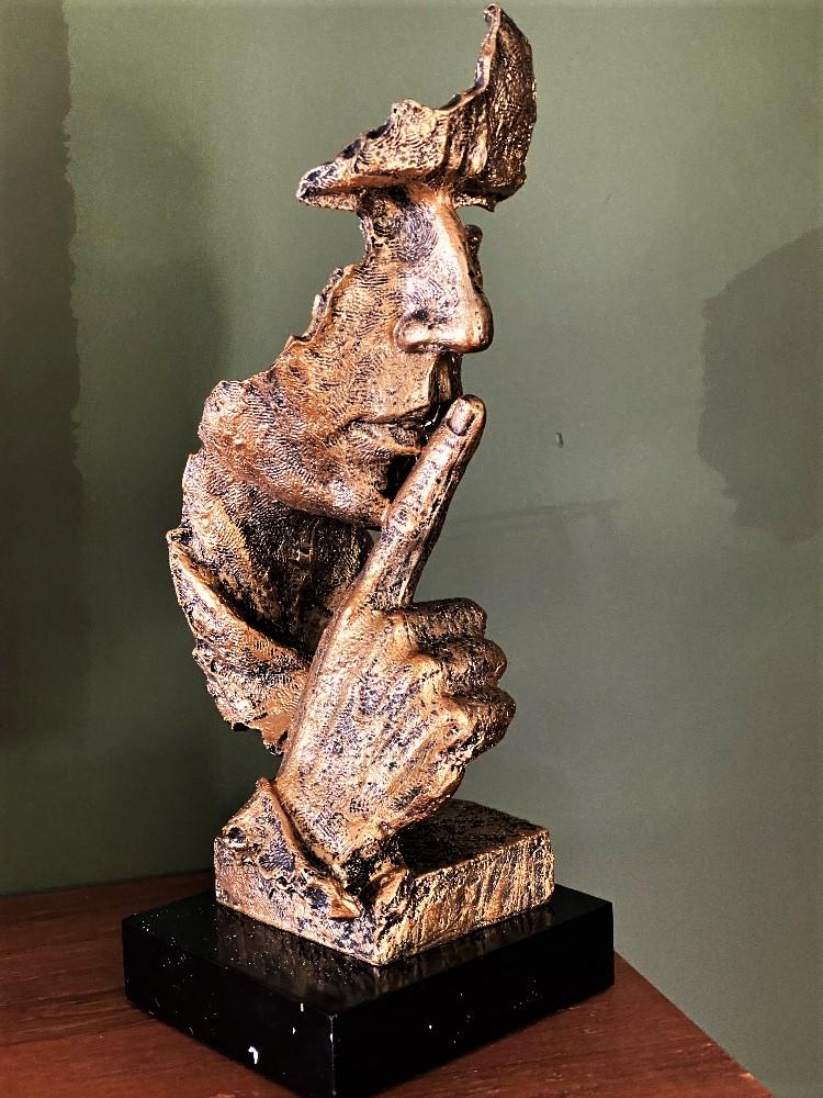 "Lot 2 - Contemporary Art Bronze Finish Sculpture ""Shush.."""