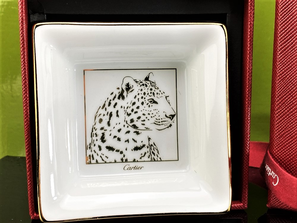 """Lot 13 - Cartier """"Panther Ltd Edition Collection"""" Porcelain Trinket Tray"""