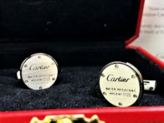 Cartier Pair Of New Palladium Silver 925 Cufflinks