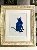 "Andy Warhol ""One Blue Pussy"" 1954 Lithograph Print/Framed"