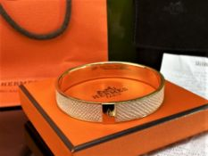 Hermes-Paris Bracelet / Bangle In Nude Leather and Gold