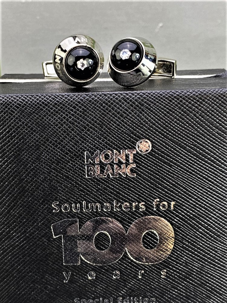 """Lot 17 - Montblanc """"Soulmakers Special Edition"""" Diamond Cufflinks"""