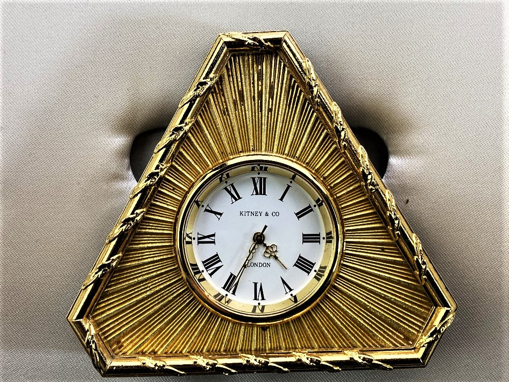 Lot 26 - Kitney & Co Vintage Gold Plated Desk Clock, Made in England