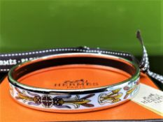 Hermes-Paris Monogram Patterned Enamel & Silver Plated Cream Bracelet