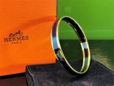 Hermes- Paris - Enamelled Navy Gold Plated Bracelet