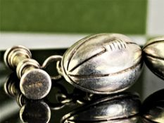 Pair of Vintage 925 Silver Cufflinks American Football Design