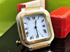 Cartier Paris Santos Gold Plated Desk Clock & Case