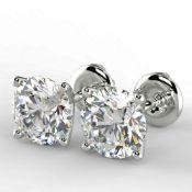 Pair of New 1.07 Carat Round Cut VS1/E Diamond Stud Earrings On 14K Hallmarked White Gold