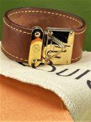 Louis Vuitton Leather & Gold Plated Bracelet