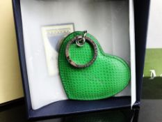 Aspinal of London Green Leather Heart Key Ring