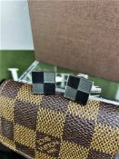 Louis Vuitton Cufflinks 925 Silver Gold Plated / Brown Damier Pouch.