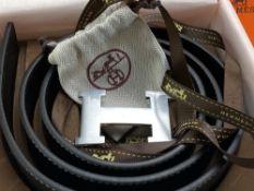 "Hermes Paris ""H"" leather & Palladium Belt 125cm"