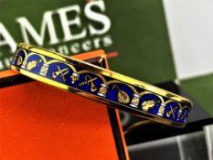 Hermes Gold Plated & Blue Enamel Musical Instruments Bracelet