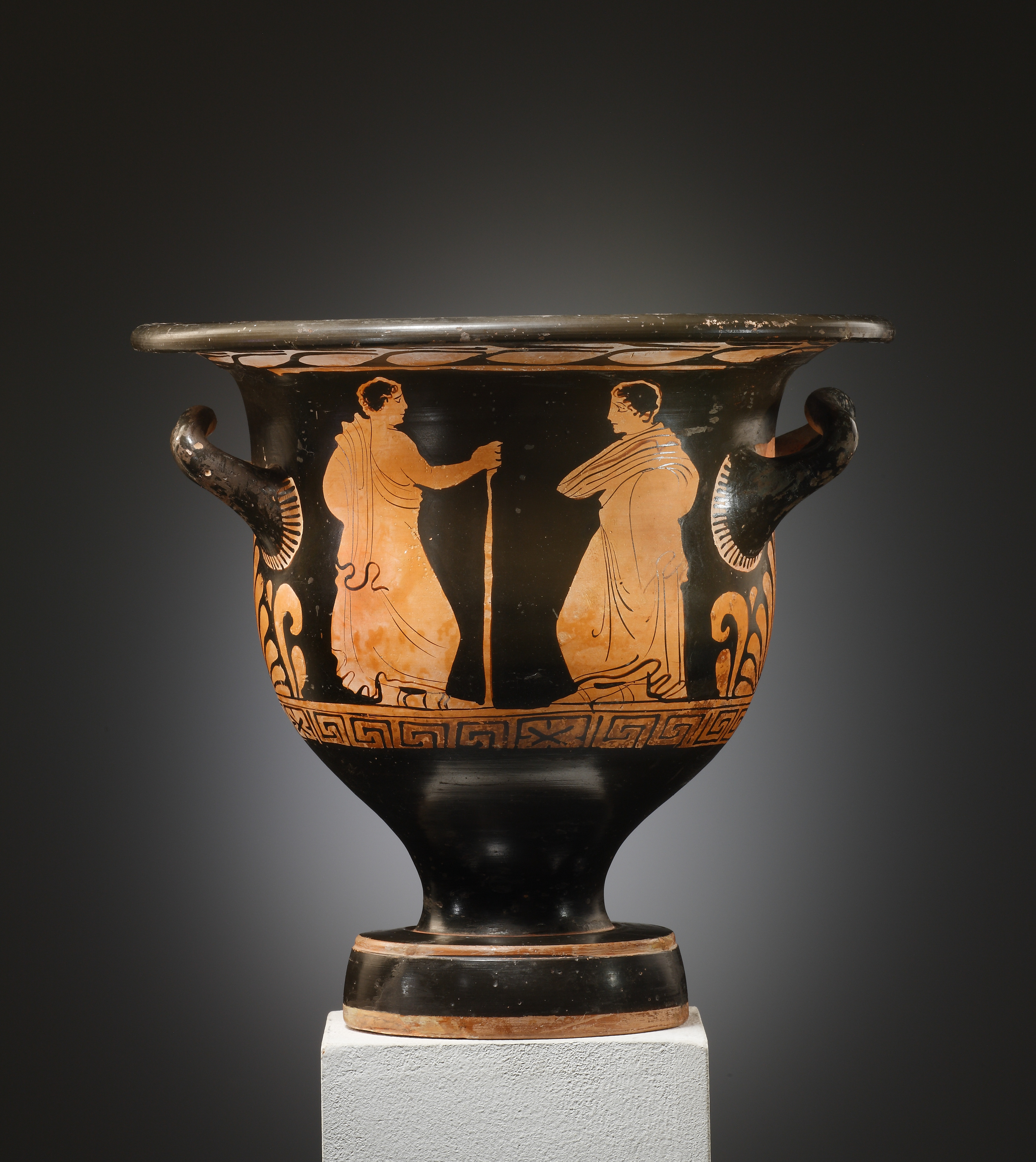 Lot 26 - An Apulian Red-Figure Bell-krater with Dionysian scene; attributed to the Painter of Group Karlsruhe