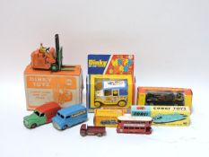 A collection of die cast toys, Dinky Climax Forklift, Dinky Ovaltine van, Dinky BP Austin van,