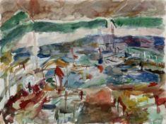Henninger, Manfred. (1894 Backnang - 1986 Stuttgart). Bucht mit Booten. 1949(?). Aquarell auf