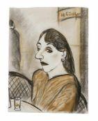 Günther, Herta. (1934 - 2018 Dresden). Bildnis einer Dame im Café. Pastell auf Bütten. 52 x 39 cm.