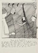 Art Brut - - Tschirtner, Oswald. (1920 Perchtoldsdorf - 2007 Gugging). Flamenco. 1973. Tuschfeder