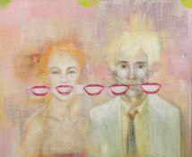 Dehne, Pia. (1964 Düsseldorf - lebt u. arbeitet in New York). Self with Andy Warhol. Acryl auf
