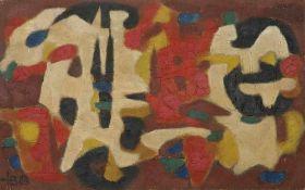 Barthel, Hugo. (1918 Deutschland). o.T. 1963. Öl und Collage auf Platte. 52,5 x 83,5 cm. Links