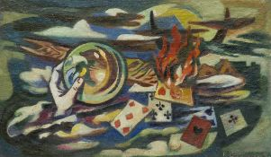 Baerwind, Rudolf (Rudi). (1910 Mannheim - 1982 ebenda). Fastmagorie. 1947. Öl auf Leinwand. 60 x