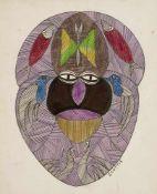 Art Brut - - Wilson, Scottie. (1888 - 1972). Untitled (Maske). Tinte, Buntstift und Bleistift auf