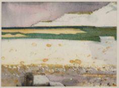 Bartlett, Charles. (1921 - 2014, England). Chalk cliffs. Aquarell über Graphit auf strukturiertem