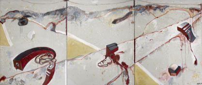 Fluxus - - Vostell. Metamorfosis America Latina. Tryptichon. 1984. Öl und partiell Granulat auf