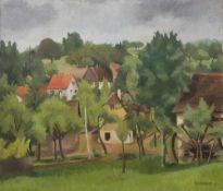 Breitwieser, Georg. (1890 Langstadt (Dieburg) - 1938 Darmstadt). o.T. (Ansicht mit Haus). 1933. Öl