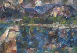 Henninger, Manfred. (1894 Backnang - 1986 Stuttgart). Gardasee. (1963). Öl auf Leinwand. 49 x 70