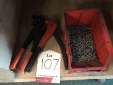 2 x Various Heavy Duty Pop Rivet Guns w/ Quantity of Rivets