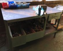 Engineers Metal Workbench w/ Vice & Contents - As Pictured