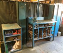 Engineers Bench w/ Vice | 3 x Personal Locker Units | Storage Cupboard & Contents - As Pictured