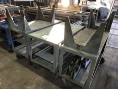 3 x Metal Fabricated Mobile Trolleys w/ Manual Welding Rotators as pictured