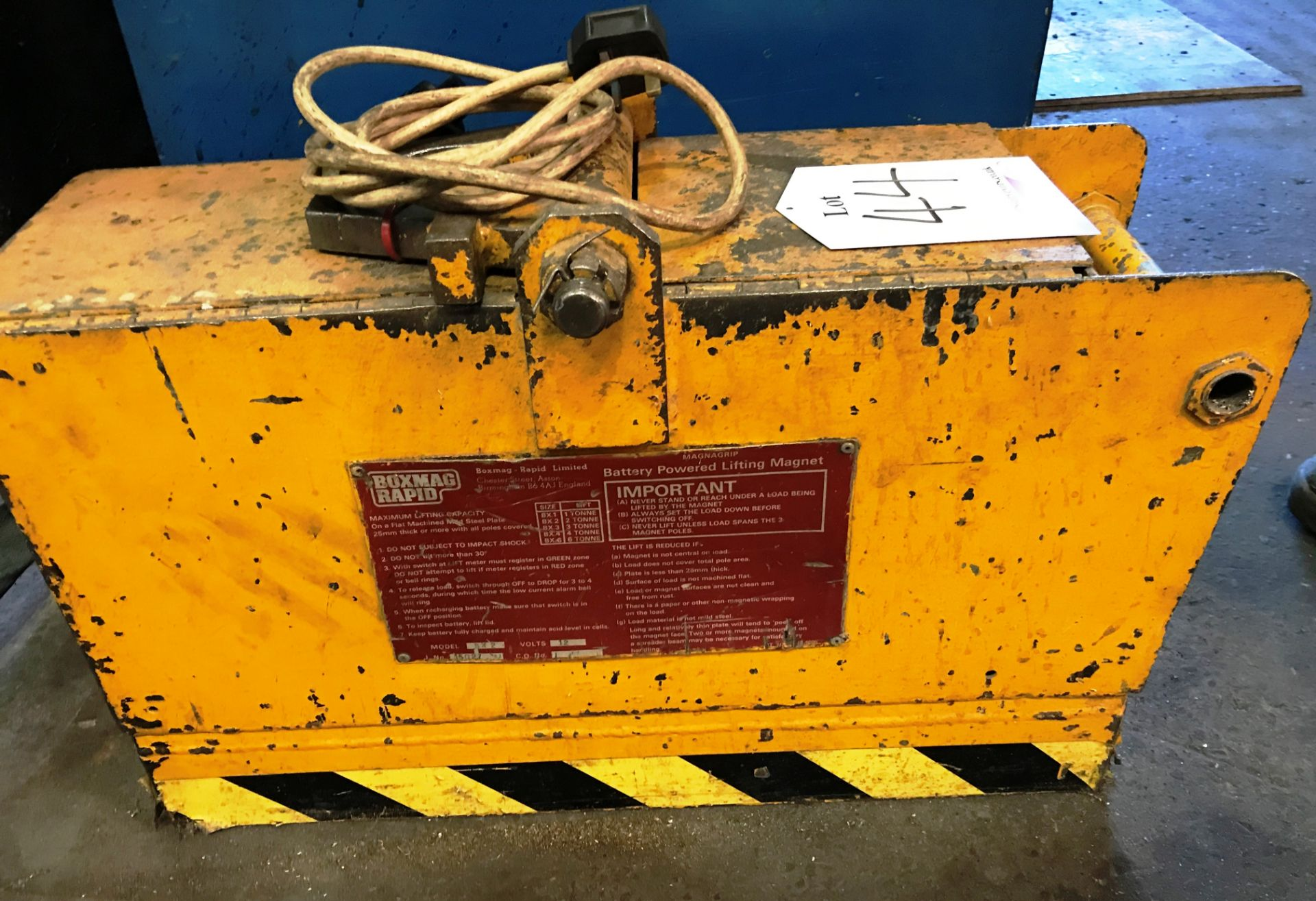 Lot 44 - Boxmag Rapid BX2 2 Ton Battery Powered Lifting Magnet
